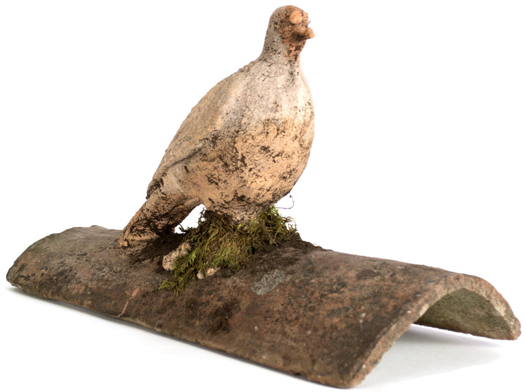 Sculpted Roof Tile with a Pigeon
