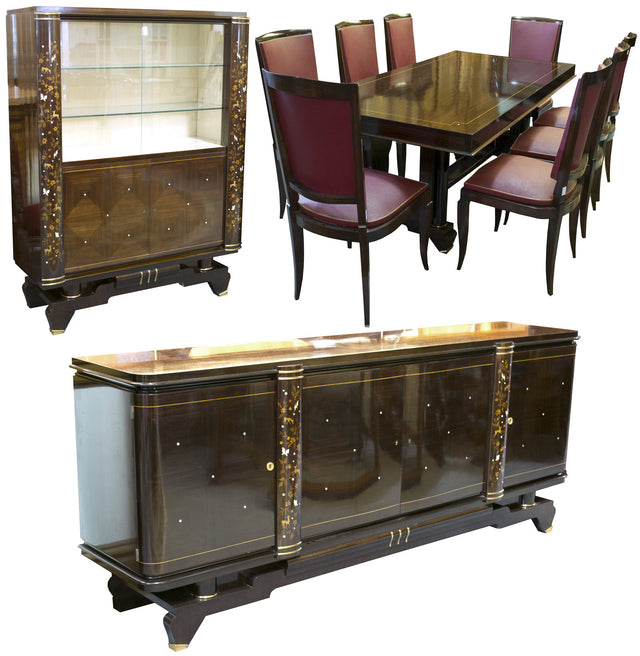 A French Art Deco Jules Leleu Style Dining Room Suite