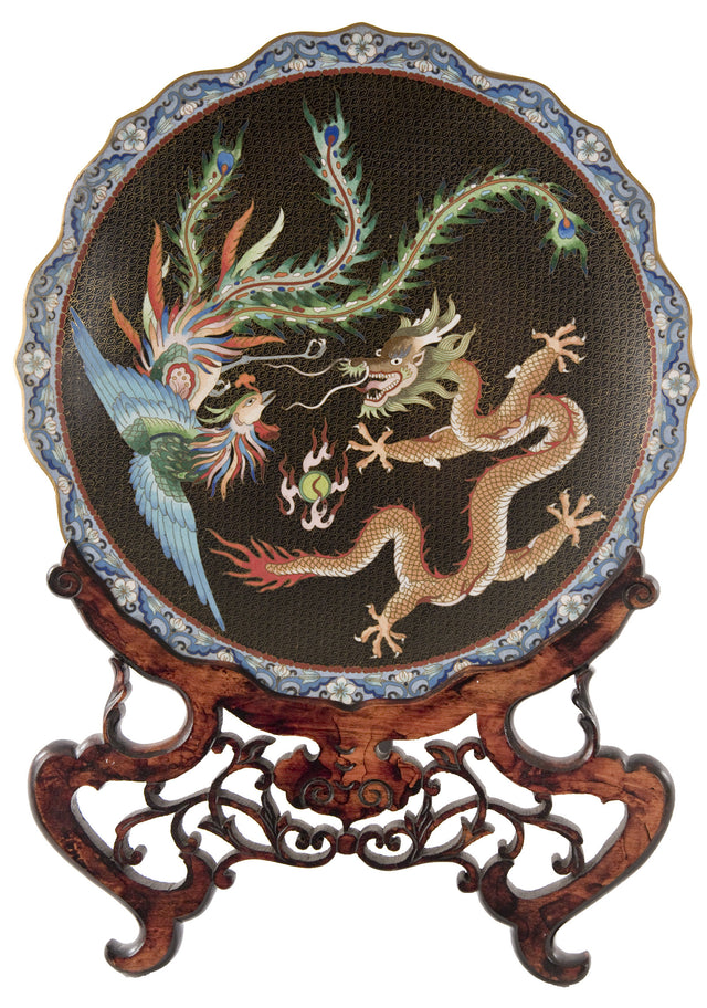 A Cloisonne Enamel 'Dragon and Phoenix' Charger on Ornate Wooden Stand