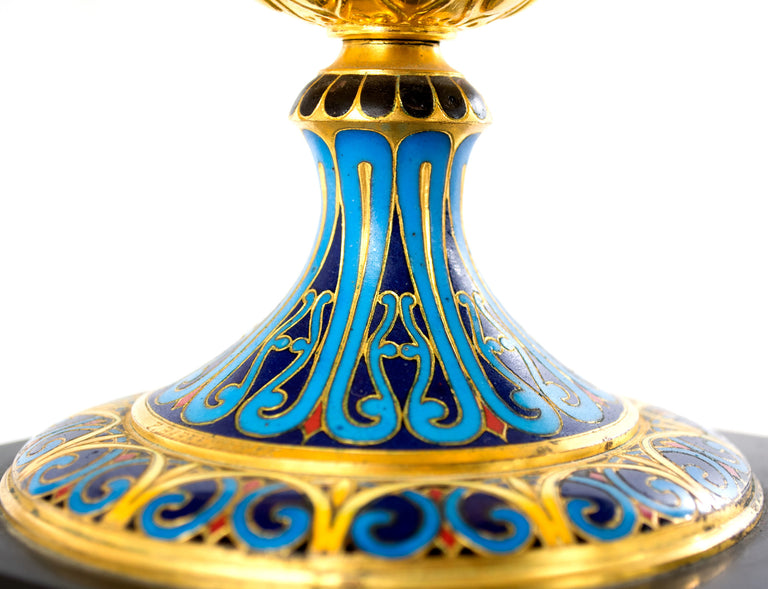 French Cloisonné, Marble, and Ormolu Garniture