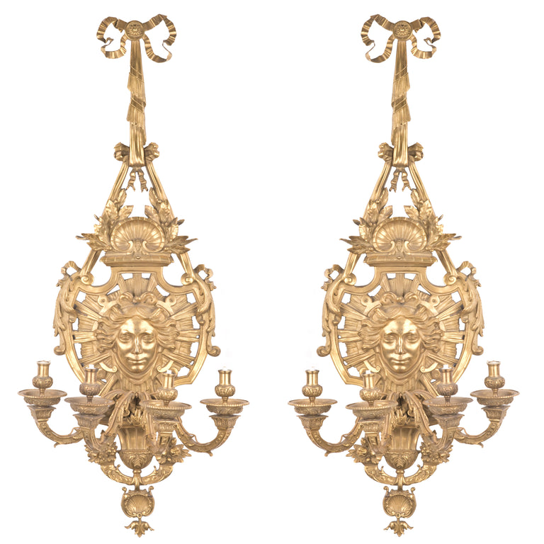 19th Century French Regency Style Ormolu Wall Sconces