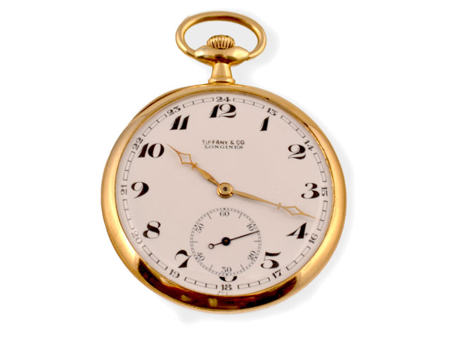 18 karat yellow gold pocket watch by Longines for Tiffany & Co.