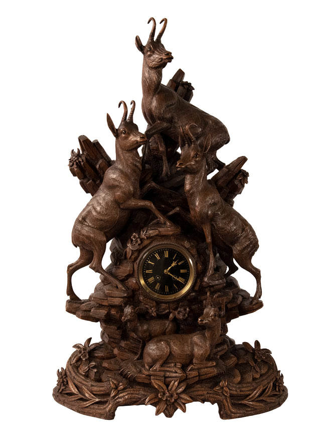 Monumental Black Forest German Clock with Three Stags