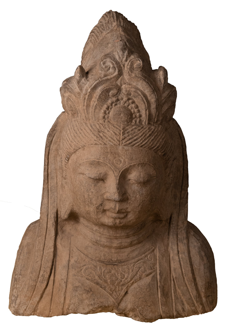 Sculpture of Quanyin carved in Solid Basalt