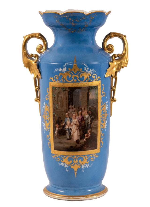Old Paris Sevres Blue Porcelain Vase