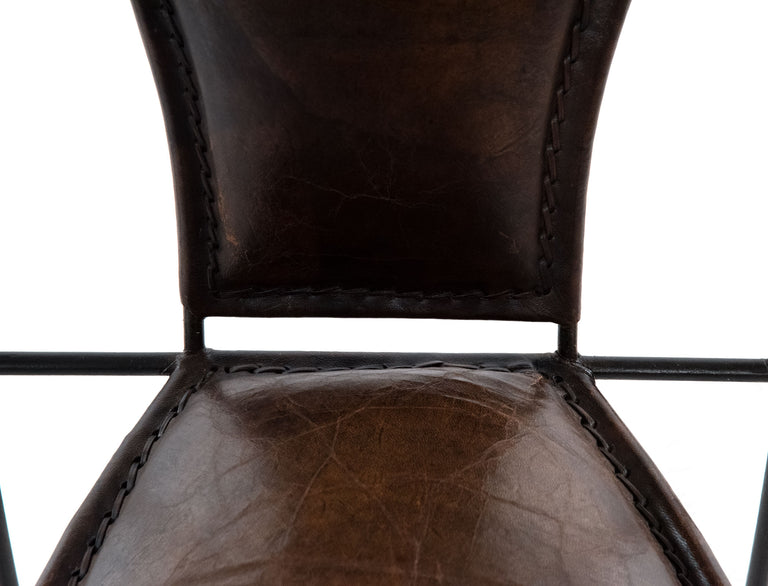Set of Six Wrought Iron and Leather Armchairs
