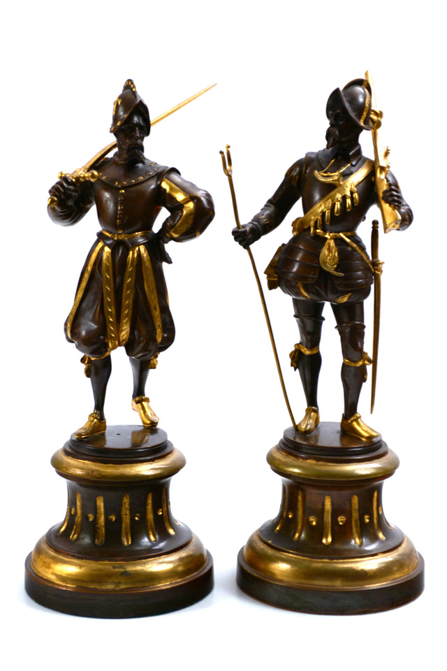 A Pair of Parcel Gilt Bronze Statues of Chevalier