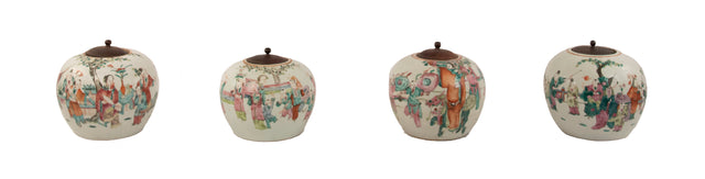 Set of four Qing dynasty famille verte peach-shaped porcelain jars