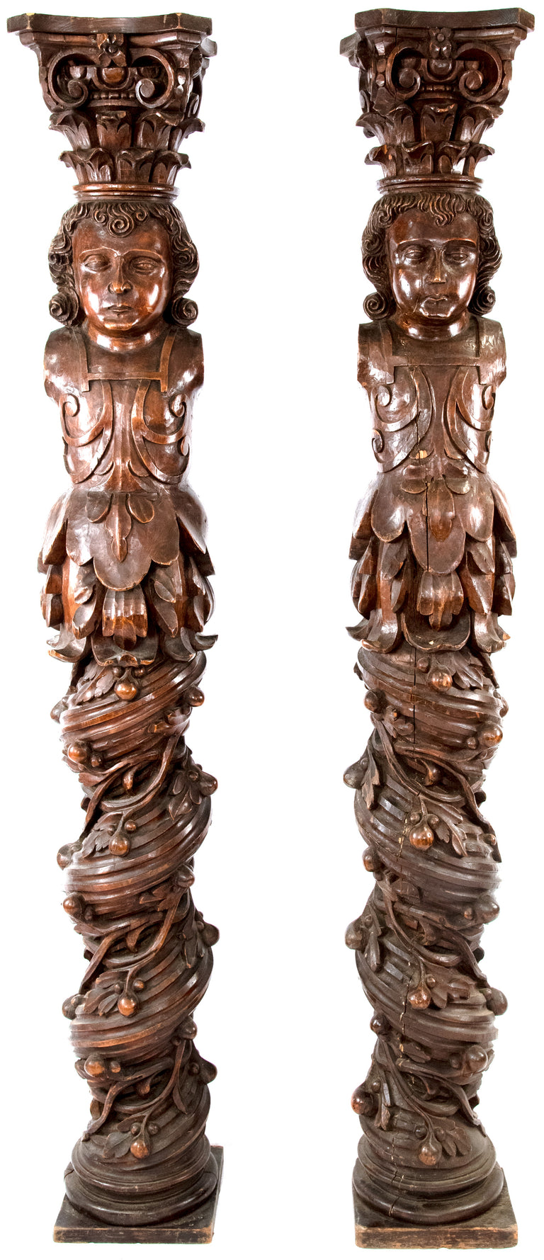 A Pair of 17th Century Carved Oak Figural Solomonic Columns