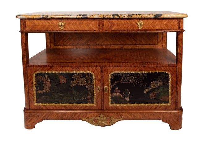 Louis XVI Transitional Chinoise Coromandel Marble Top Side Cabinet
