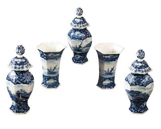 Dutch tin-glazed Earthenware Garniture Set