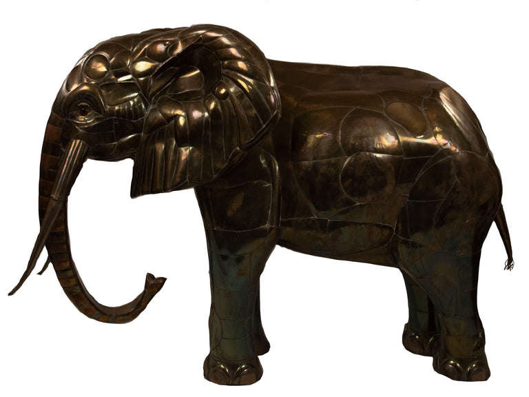 Monumental Hammered Brass Elephant (c. 1970)