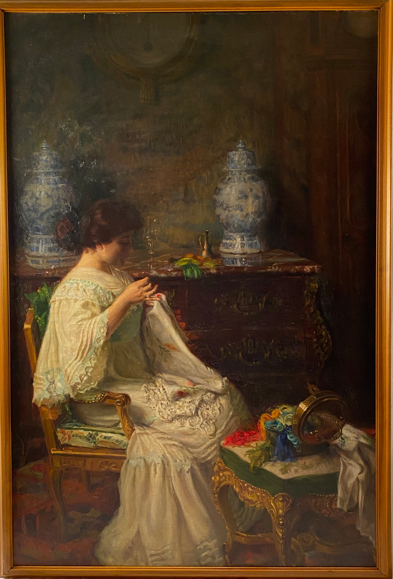 Seamstress in Interior by Paul Edouard Deligny, 1907