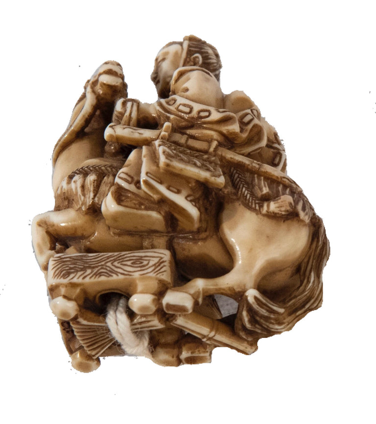 Netsuke of a Samurai on a Horse