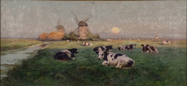 Windmills and Cattle at Sunset (c. 1855) by Henry Singlewood Bisbing