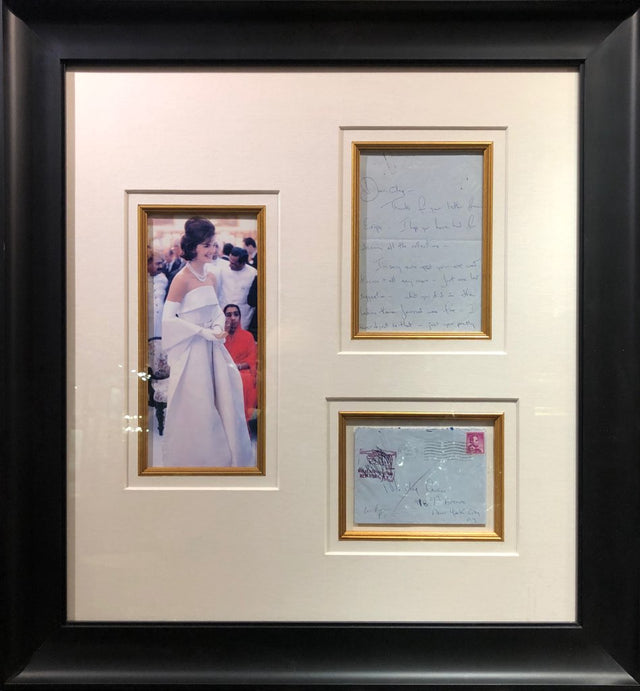 Framed Letter from Jacqueline Kennedy to Oleg Cassini
