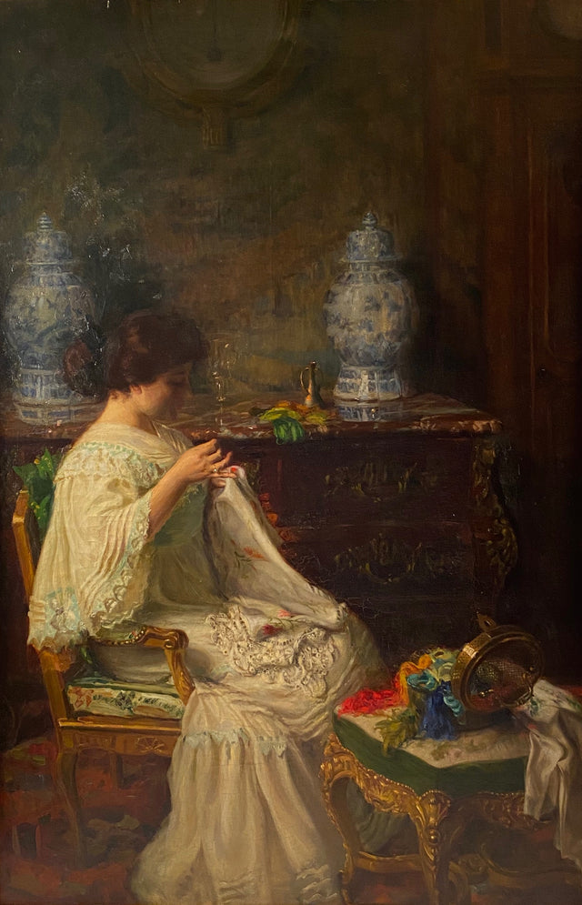 Seamstress in Interior by Paul Edouard Deligny