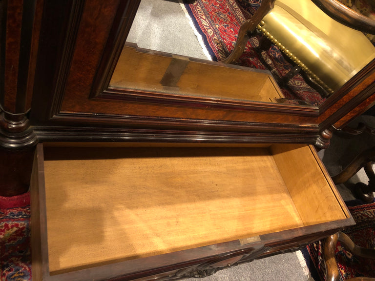 Napoleon III Rosewood and Burlwood Mirrored Armoire