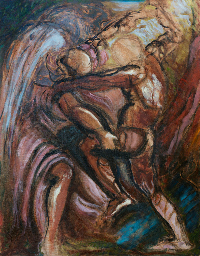Jacob Wrestling with the Angel by Tyler J Alexander
