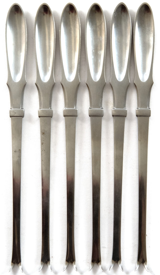 A Set of Six Georg Jensen Stainless Steel Seafood Forks