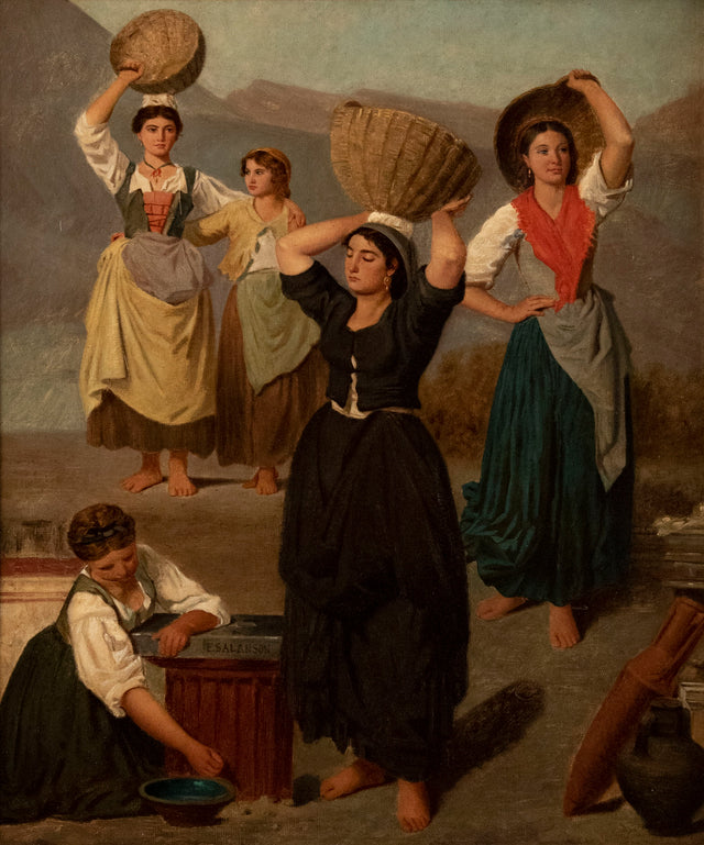 Maidens Carrying Baskets by Eugénie Marie Salanson