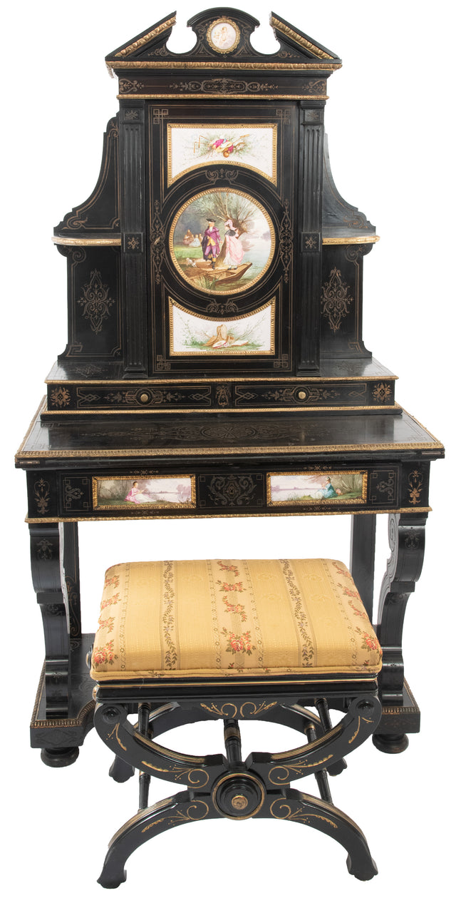 Napoleon III Ormolu-Mounted Incised and Ebonized Desk with Empire-Style Adjustable Stool