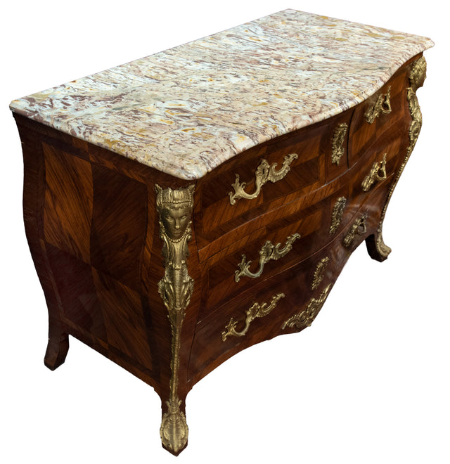French Louis XV Style Commode with Figural Ormolu Mounts and Marble Top
