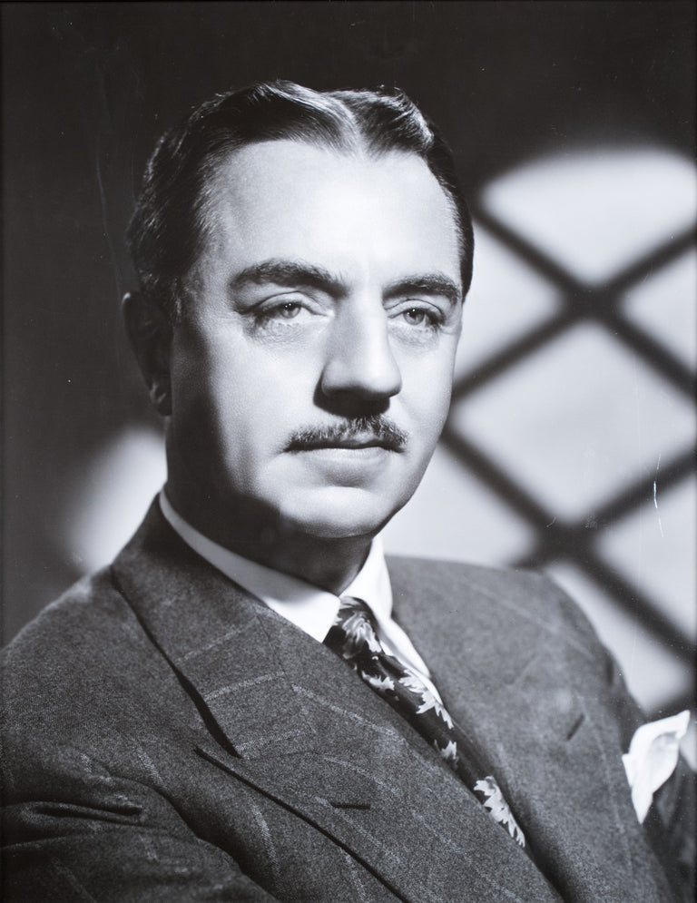 A framed signature and photograph of actor William Powell