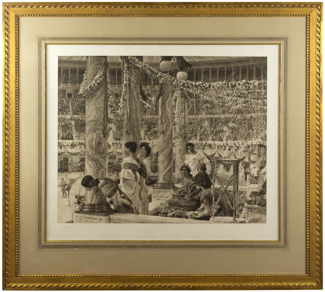 A signed lithograph of Caracalla and Geta by Lawrence Alma Tadema