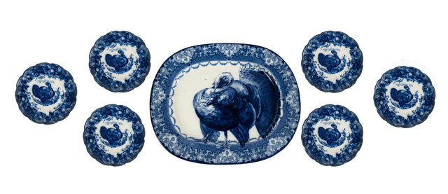 English Turkey Platter set 7 Pieces