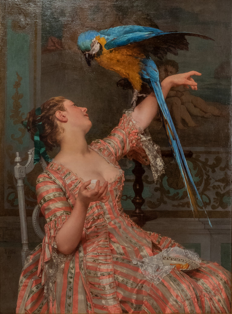 Lady with a Parrot (1873) by Émile Villa