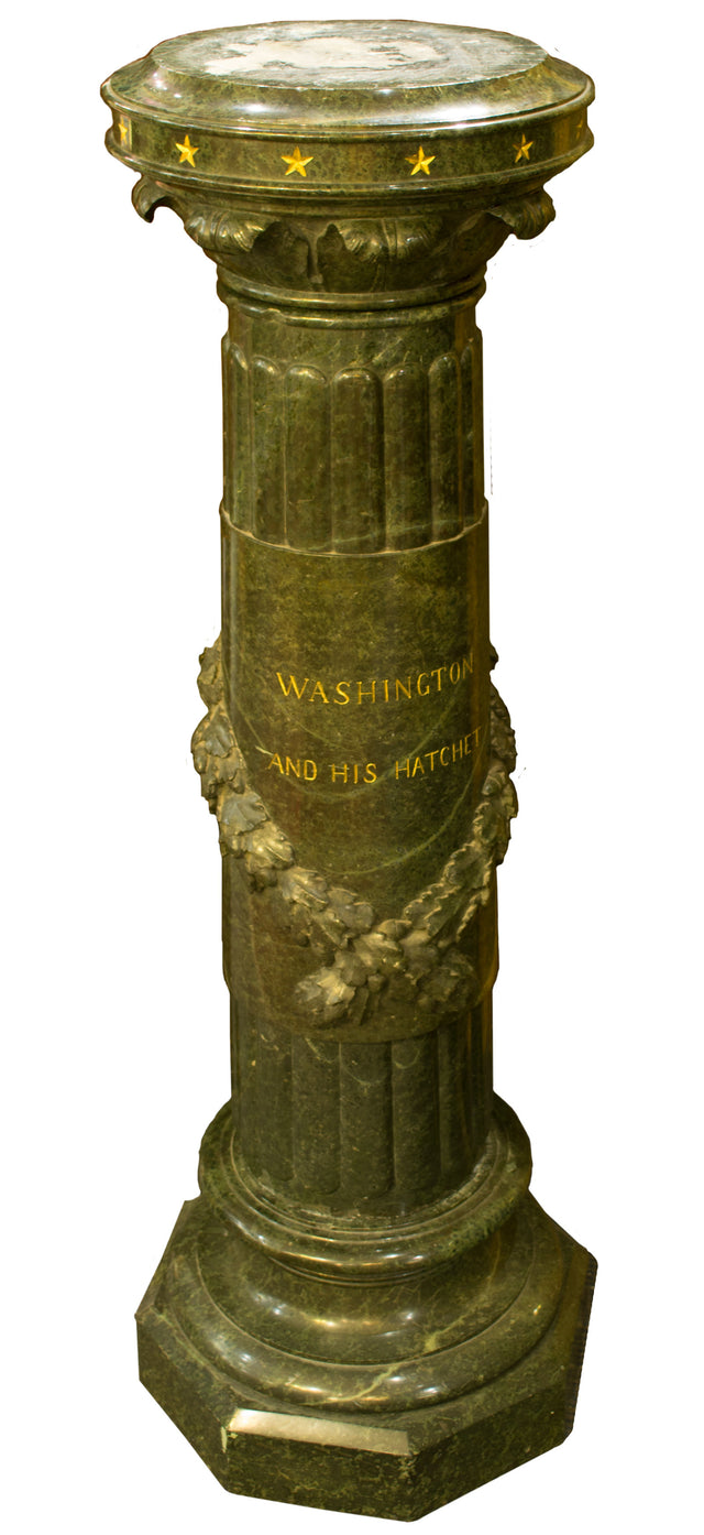 Green Marble and Gilt Americana Pedestal
