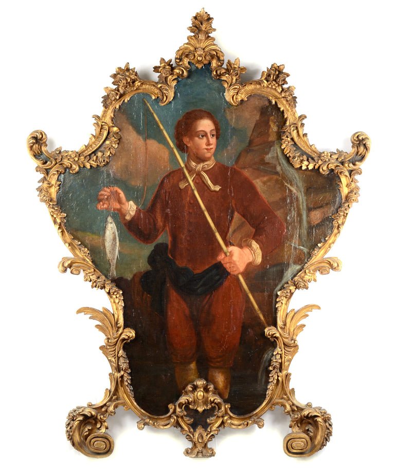 A large eighteenth-century oil painting with carved Rococo frame