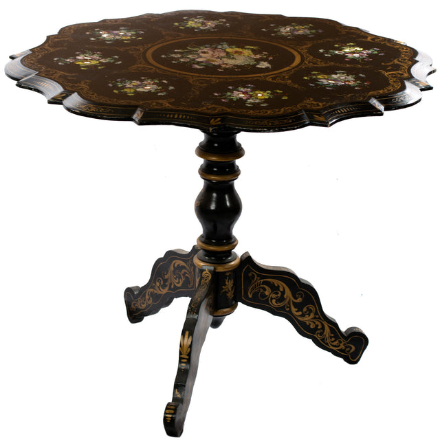 French Beaux-Arts Occasional Table with Floral Cartouches