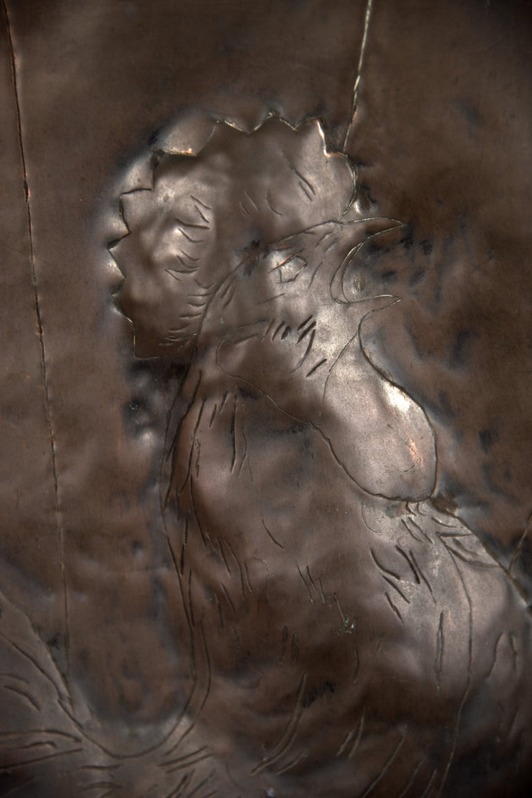 Copper Plate with Repousse Cockerel Image