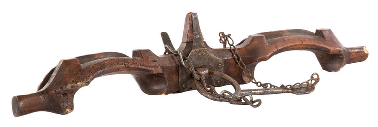 French Carved Walnut Double Cattle Yoke