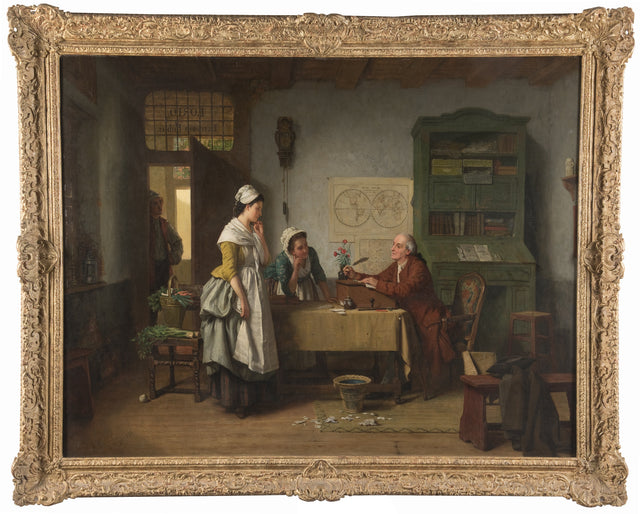 "19th Century Belgian Painting Titled ""L'Écrivain Public"" (The Notary) by Jean Carolus"