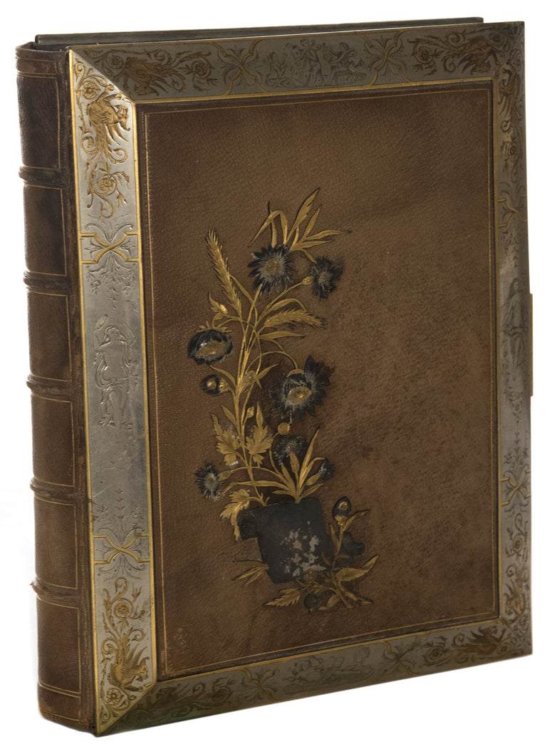 Leather Bound Photo Album with Sterling Silver and Gold Embellishments