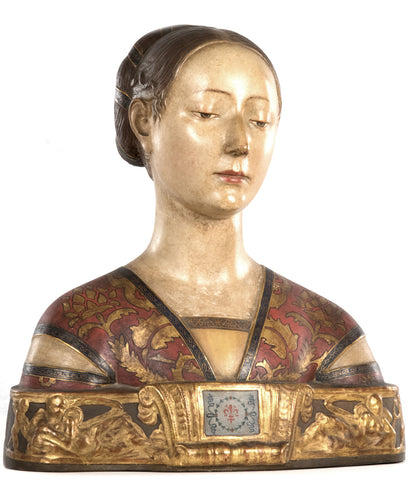 Hand-painted Terracotta Bust of a Princess of Aragon after Francesco Laurana