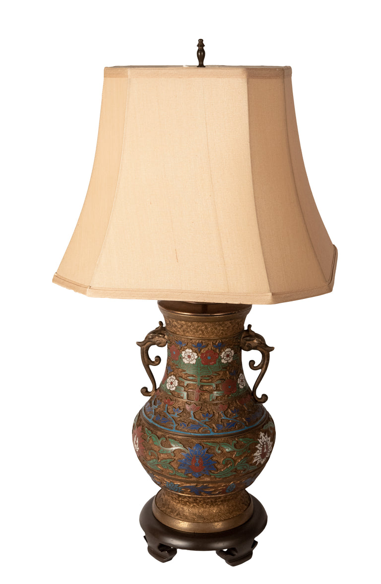 Japanese Bronze and Champleve Enamel Vase Lamp