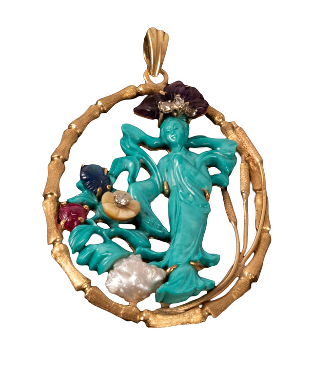 18-Karat Yellow Gold, Turquoise and Gem-Set Pendant