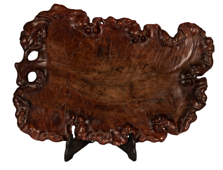 Small Chinese Qing Carved Boxwood Root Platter
