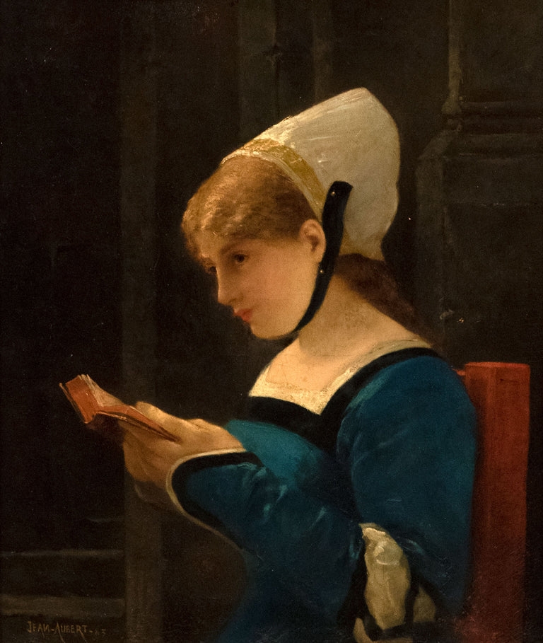 At Her Devotions by Jean-Ernest Aubert