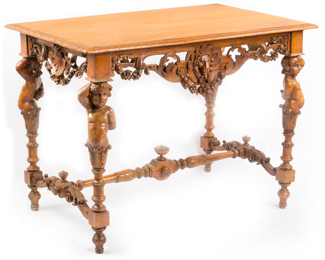 A Italian Walnut Renaissance Revival Table