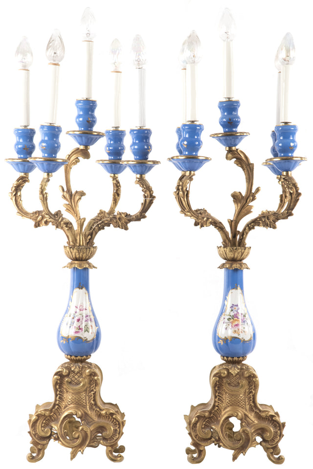Sevres-style Porcelain and Ormolu Mounted Five-light Candelabra