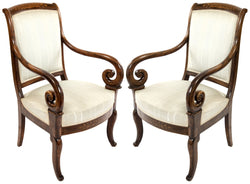 Marquetry Regency-style Upholstered Armchairs
