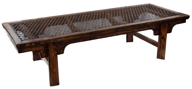 Chinese woven wicker and wood opium bed coffee table (c. 1910)