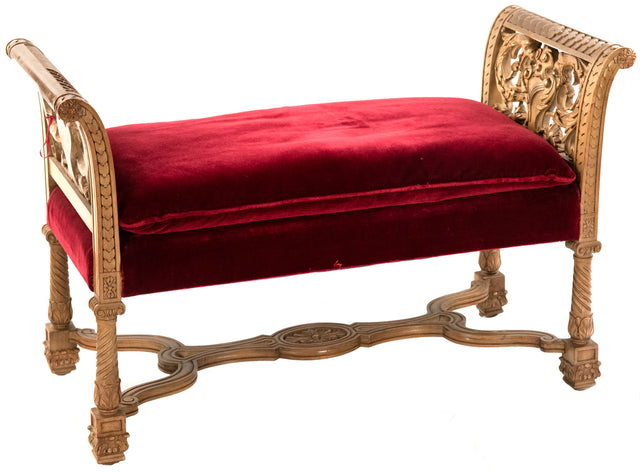 Carved Italian white oak Renaissance Revival bench with red velvet cushion