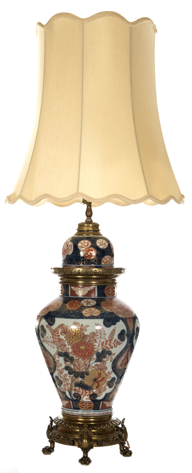 Imari Porcelain Jar and Brass Table Lamp