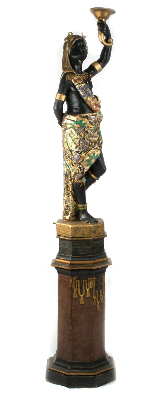 A Gilt and Painted Venetian Blackamoor on Stand